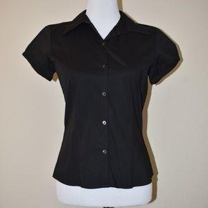 Ann Taylor Short Sleeve Black Button-up Shirt